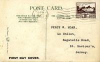 1943 8th June 1½d brown postcard with Vinchelel Lane Jersey on the front ACTUAL ITEM