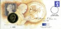 1995 Bi-centenary of William Wyon coin cover with medal - cat value £20