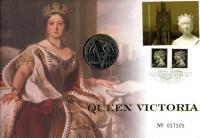 2001 Queen Victoria coin cover with £5 coin - cat value £24