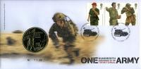 2008 Territorial Army coin cover with medal - cat value £22