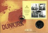 2010 Anniversary of Dunkirk coin cover with medal - cat value £26