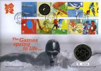 2010 Countdown to Olympics coin cover with £5 coin - cat value £24