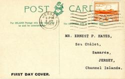 1943 8th June 2d orange postcard with St Hellier Jersey harbour on the front ACTUAL ITEM