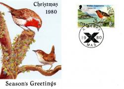 1980 Christmas Card with First Day of Issue cancellation