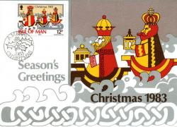 1983 Christmas Card with First Day of Issue cancellation