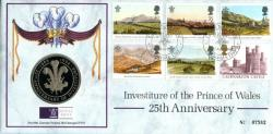 1994 25th Anniversary of Investiture of the Prince of Wales coin cover with medal - cat value £22