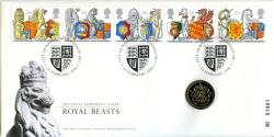 1998 The Queens Beasts coin cover with £1 coin