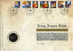 2011 King James Bible coin cover with £2 coin - rare coin