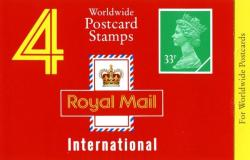 SG: GJ1b  Machin £1.32p low crown and on yellow strip 'for worldwide postcards' (w)