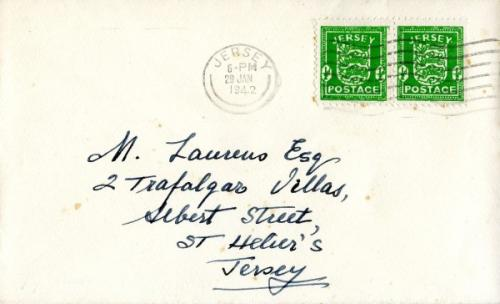 1942 29th January ½d green x2 steel CDS & wavy lines ACTUAL ITEM