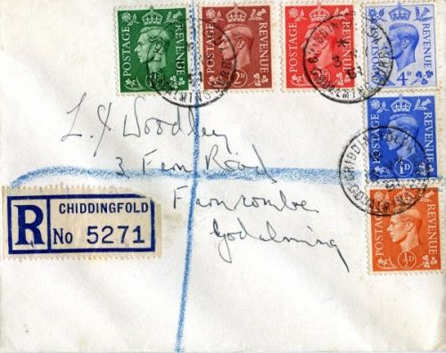 1951 dated 4th May cancellation Godalming colour change set. ACTUAL ITEM