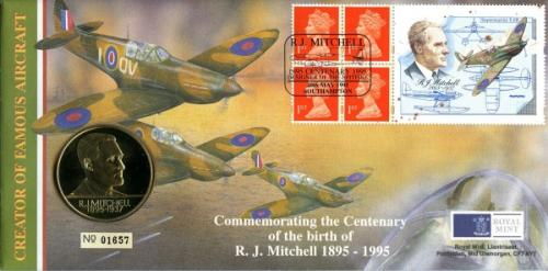 1995 Centenary of the birth of R. Mitchell coin cover with medal - cat value £20