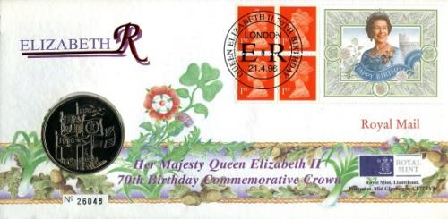 1996 Queens 70th Birthday coin cover with £5 coin - cat value £24