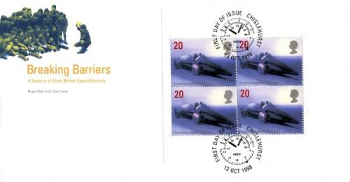 1998 13th October Breaking Barriers 20p x 4 commemoratives