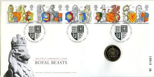 1998 The Queens Beasts coin cover with £1 coin - cat value £20