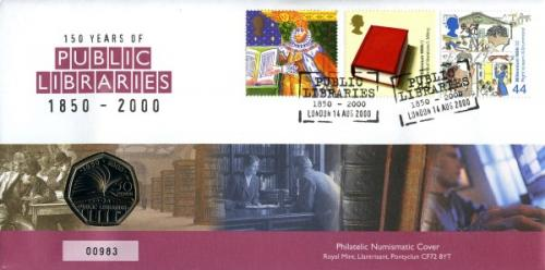 2000 Public Libraries coin cover with 50p coin - cat value £20
