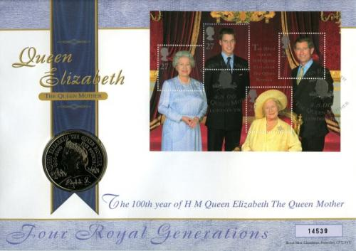 2000 Queen Mother's 100th Birthday coinm cover with £5 coin - cat value £24
