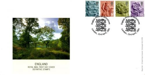 England 2001 23rd April 2nd,1st,E,65p royal mail cover