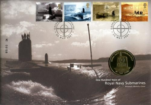2001 Royal Navey Submarine Service coin cover with medal - cat value £20
