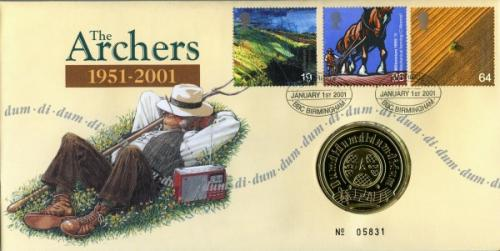 2001 The Archers coin cover with medal - cat value £20