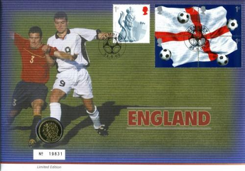 2002 England Football coin cover with £1 coin - cat value £20