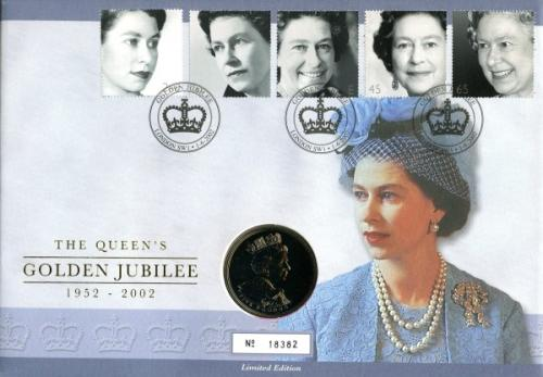 2002 Golden Jubilee coin cover with £5 coin - cat value £24