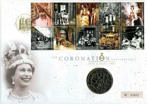 2003 50th Coronation Anniversary coin cover with £5 coin - cat value £24