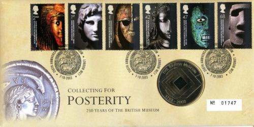 2003 British Museum coin cover with medal - cat value £20