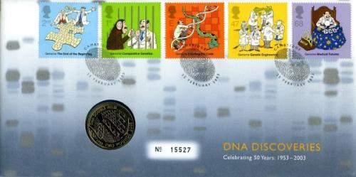 2003 DNA Discoveries coin cover with £2 coin - cat value £21