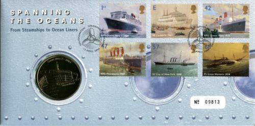 2004 Ocean Liners coin cover with medal - cat value £22