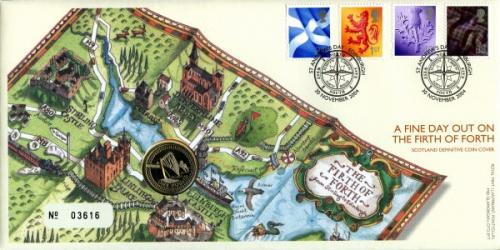 2004 The Firth of Forth coin cover with £1 coin - cat value £20
