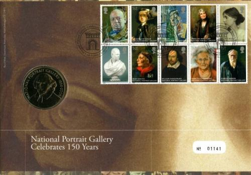 2006 National Portrait Gallery coin cover with medal - cat value £22