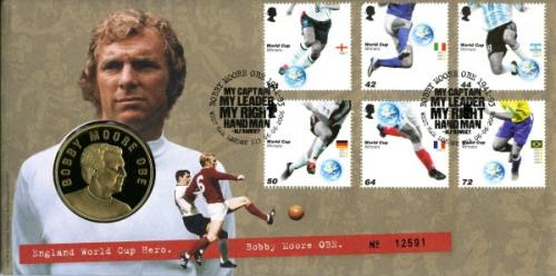 2006 World Cup coin cover with medal - cat value £22