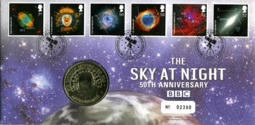 2007 50th Anniversary of The Sky at Night coin cover with medal - cat value £22