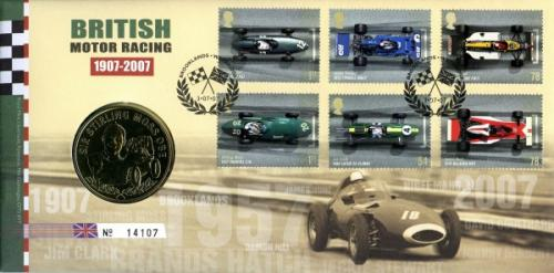 2007 British Motoring coin cover with medal - cat value £22