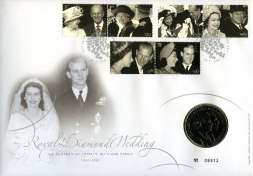 2007 Diamond Wedding coin cover with £5 coin - cat value £35