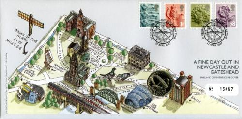 2007 Newcastle & Gateshead coin cover with £1 coin - cat value £20