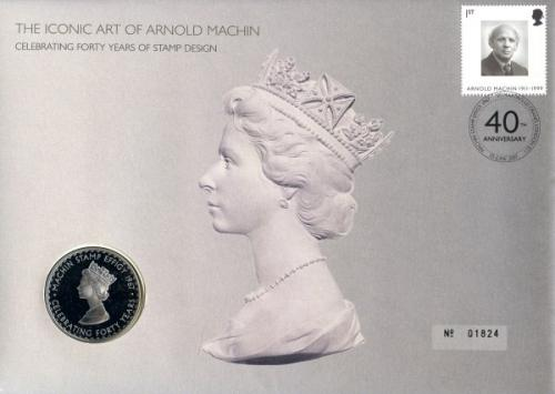 2007 Stamp Designer coin cover with medal coin - cat value £22