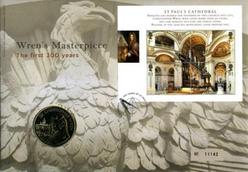 2008 St Pauls Cathedral coin cover with medal - cat value £22