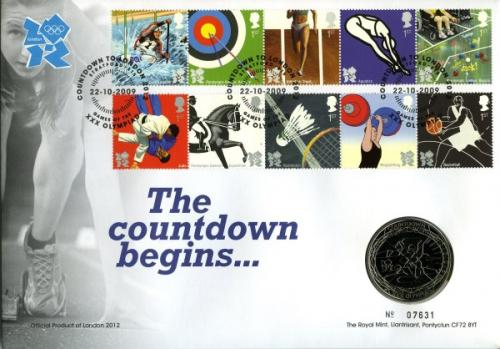 2009 Countdown to the Olympics coin cover with £5 coin - cat value £26