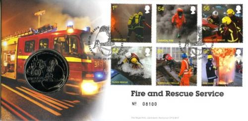 2009 Fire & Rescue Service coin cover with medal - cat value £22