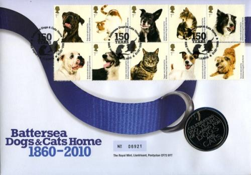 2010 Battersea Dogs Home coin cover with medal - cat value £22