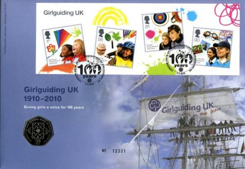 2010 Girl Guides coin cover with 50p coin - cat value £23