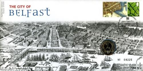 2011 City of Belfast coin cover with £1 rare coin