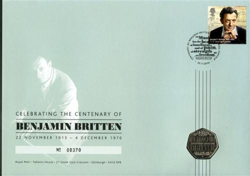 2013 Benjamin Britten coin cover with 50p coin
