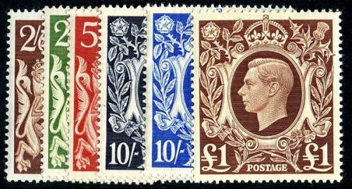 Set of 6 stamps SG476 to 478b