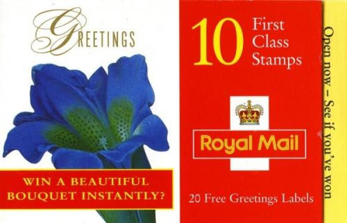 KX10 Greetings 1997 Flowers with 'Open now - see if you've won' on the right hand yellow tab
