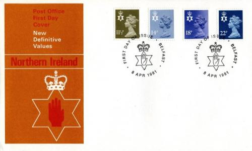 Northern Ireland 1981 8th April 11½p.14p,18p,22p Belfast CDS  post office cover
