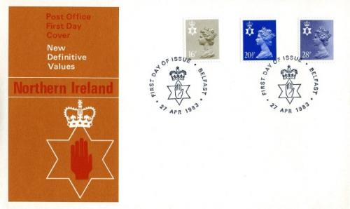 Northern Ireland 1983 27th April 16p, 20½p,28p  Belfast CDS post office cover