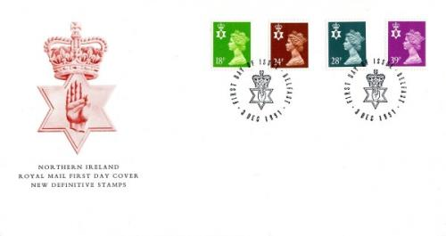 Northern Ireland 1991 3rd December 18p,24p,28p,39p Belfast CDS royal mail cover
